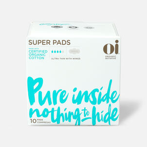 Oi Organic Cotton Ultra Thin Pads with Wings, Super, 10ct