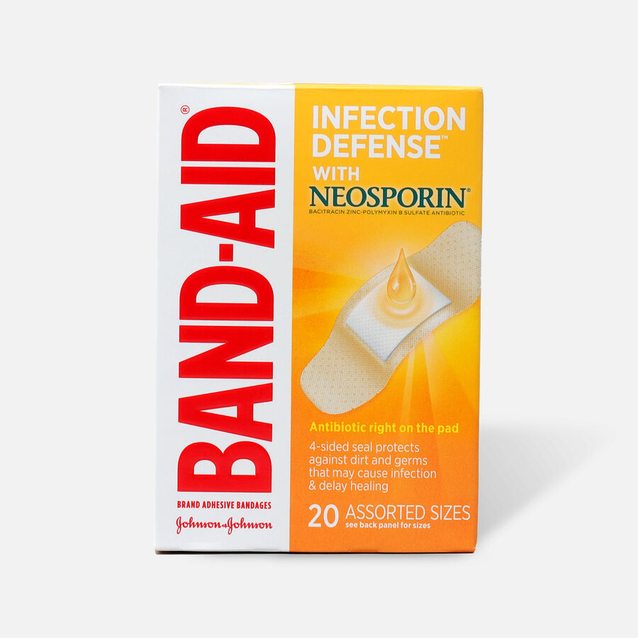 Band-Aid Bandages with Neosporin Antibiotic Ointment, Assorted Sizes, 20 ct, , large image number 0