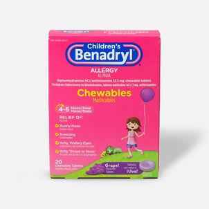 Children's Benadryl Chewable Tablets, Grape Flavored, 20 ct