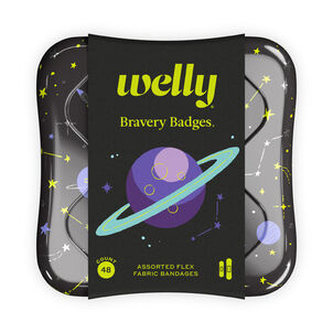 Welly Bravery Badges Space Assorted Flex Fabric Bandages - 48ct